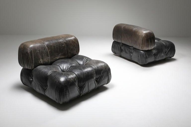 European Mario Bellini's 'Camaleonda' Lounge Chairs in Original Black Leather For Sale