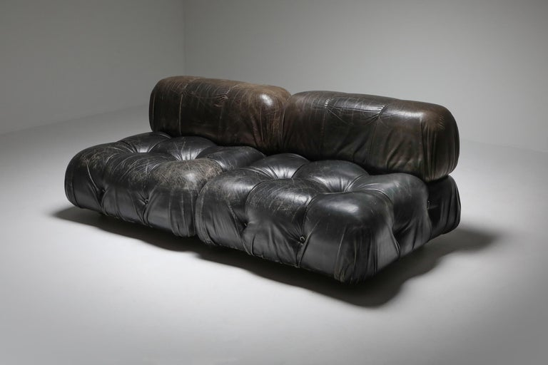 20th Century Mario Bellini's 'Camaleonda' Lounge Chairs in Original Black Leather For Sale