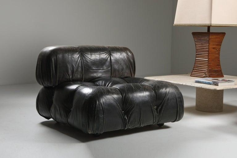Mario Bellini's 'Camaleonda' Lounge Chairs in Original Black Leather For Sale 2