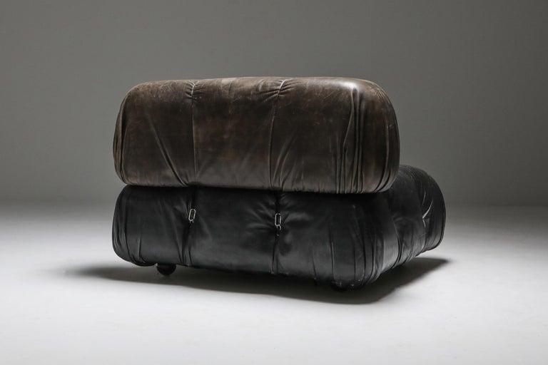 Mario Bellini's 'Camaleonda' Lounge Chairs in Original Black Leather For Sale 3