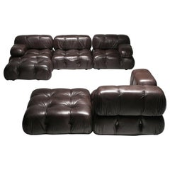 Mario Bellini's Camaleonda Original Sectional Sofa in Chocolate Brown Leather