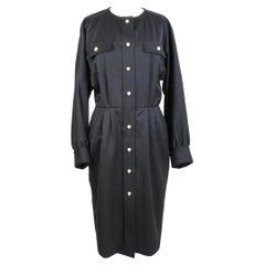 Mario Borsato Black Gold Wool Elegant Sheath Dress
