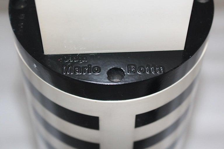 Mario Botta Black and White Vintage Table Lamp Shogun, 1980s, Italy 5