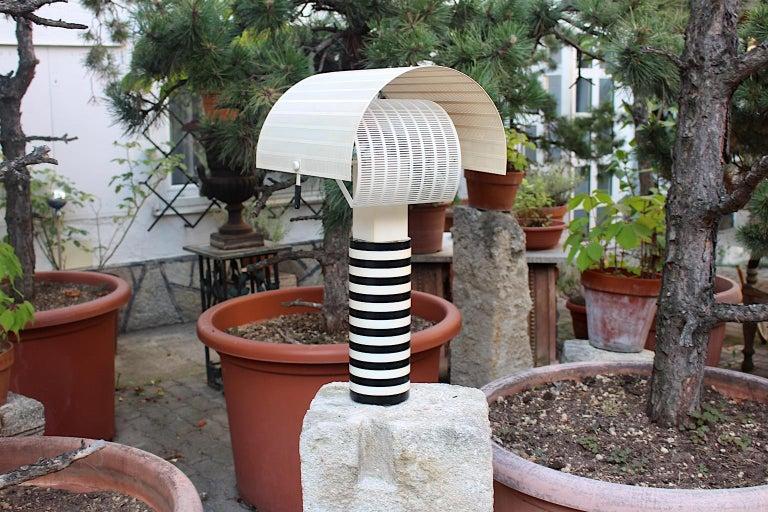 Mario Botta Black and White Vintage Table Lamp Shogun, 1980s, Italy 8