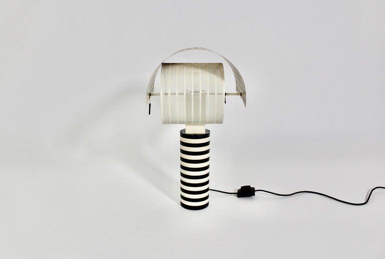Mario Botta Black and White Vintage Table Lamp Shogun, 1980s, Italy 9