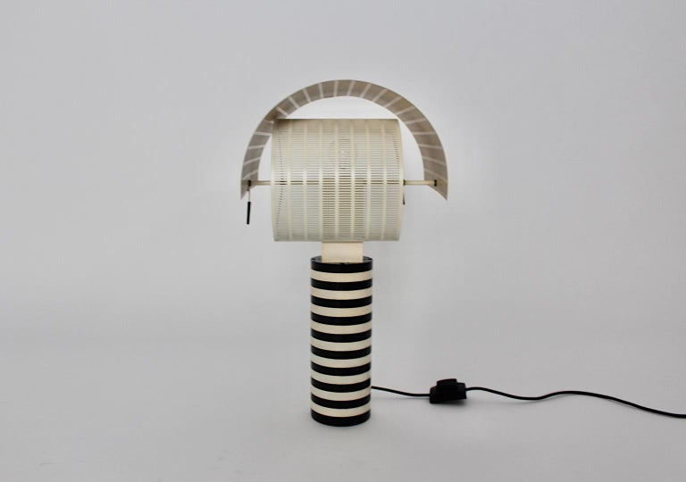 Italian Mario Botta Black and White Vintage Table Lamp Shogun, 1980s, Italy