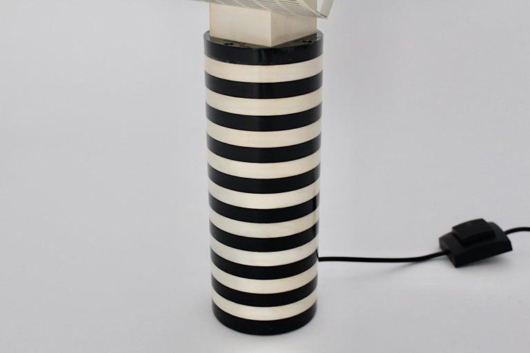 Late 20th Century Mario Botta Black and White Vintage Table Lamp Shogun, 1980s, Italy