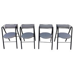 Mario Botta Set of 4 Chairs, Made in Italy, 1990s Metal