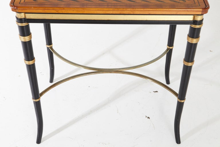Mario Buatta for John Widdicomb Regency Style Ebonized End Table For Sale 8