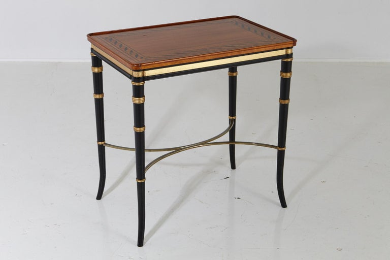 American Mario Buatta for John Widdicomb Regency Style Ebonized End Table For Sale