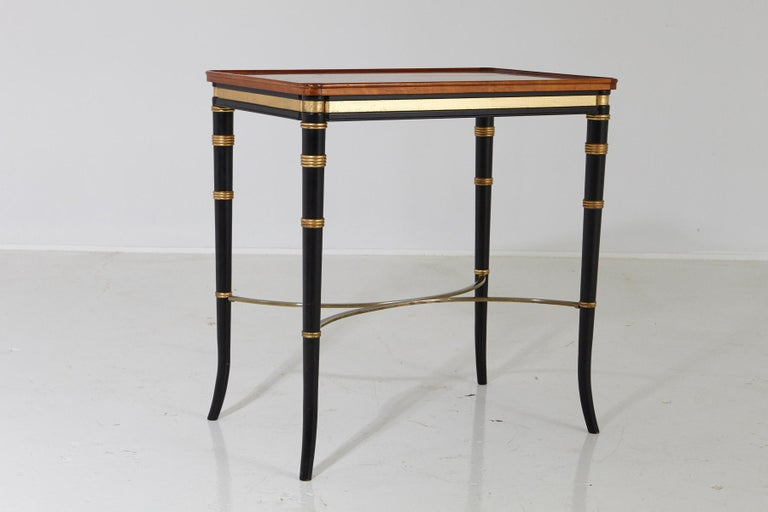 Mario Buatta for John Widdicomb Regency Style Ebonized End Table In Good Condition For Sale In Weston, CT