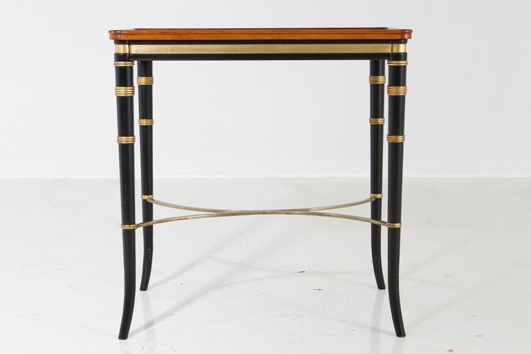 20th Century Mario Buatta for John Widdicomb Regency Style Ebonized End Table For Sale