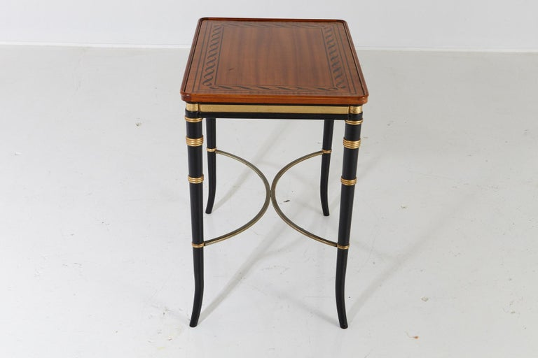 Wood Mario Buatta for John Widdicomb Regency Style Ebonized End Table For Sale
