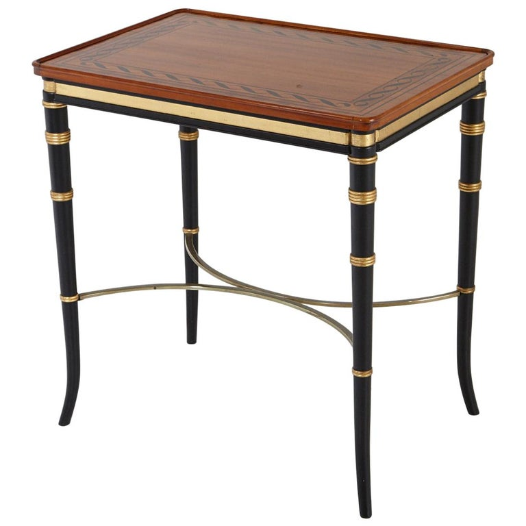 Mario Buatta for John Widdicomb Regency Style Ebonized End Table For Sale