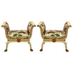 Mario Buatta Style Chintz Benches by Schumacher, a Pair