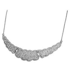 Mario Buccellati 1.65 Carat Diamond 18 Karat White Gold Panel Motif Necklace