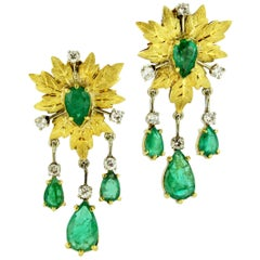 Mario Buccellati 18 Karat Gold Clip-On Earrings with Emeralds and Diamonds