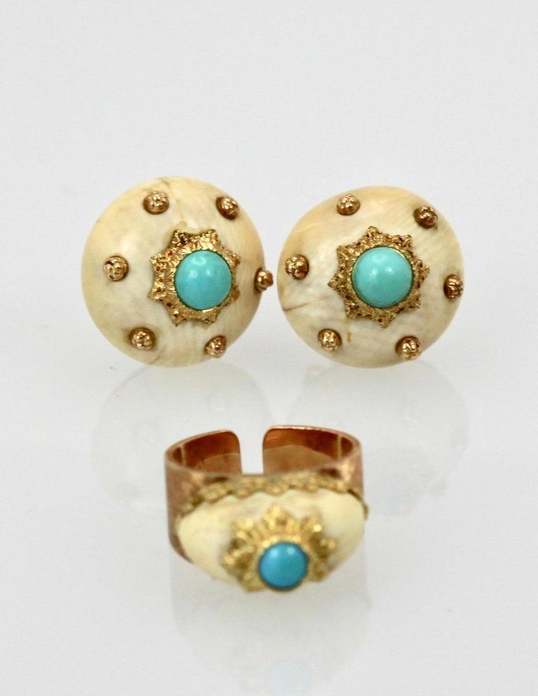 Mario Buccellati 18 Karat Textured Brushed Gold Ring Turquoise For Sale 4