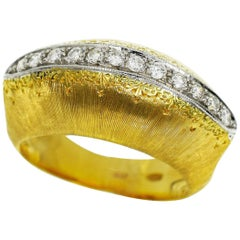 Mario Buccellati 18 Karat Yellow and White Gold Bombay Top Diamond Ring