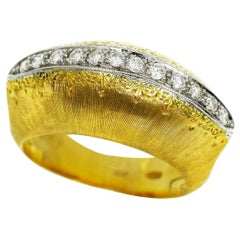 Mario Buccellati 18 Karat Yellow and White Gold Bombay Top Diamond Ring