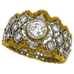 Mario Buccellati 18 Karat Yellow Gold White Gold Diamond Band Ring