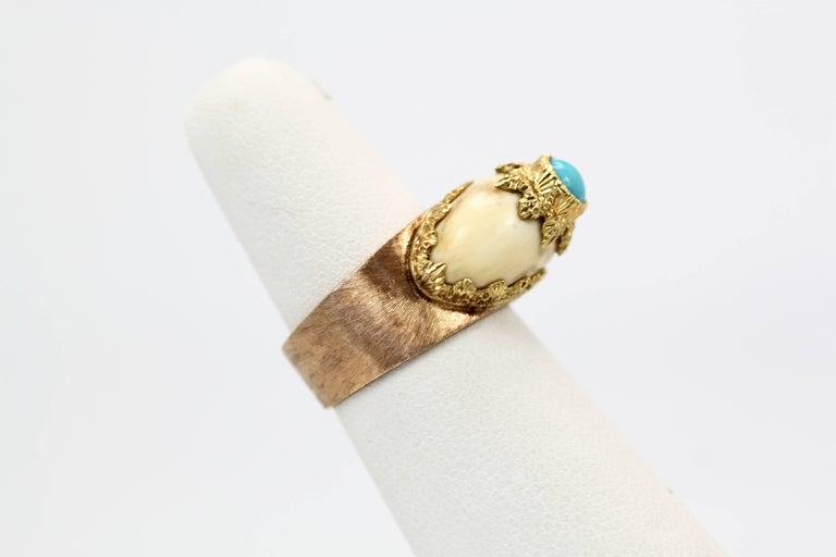 Artisan Mario Buccellati 18 Karat Textured Brushed Gold Ring Turquoise For Sale