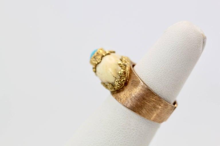 Round Cut Mario Buccellati 18 Karat Textured Brushed Gold Ring Turquoise For Sale