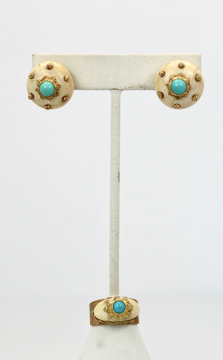 Mario Buccellati 18 Karat Textured Brushed Gold Ring Turquoise For Sale 1