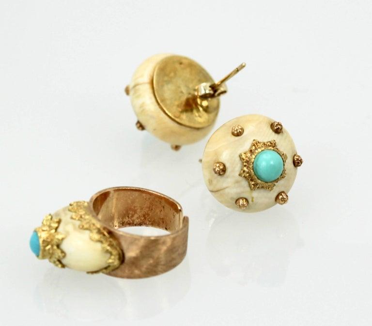 Mario Buccellati 18 Karat Textured Brushed Gold Ring Turquoise For Sale 2