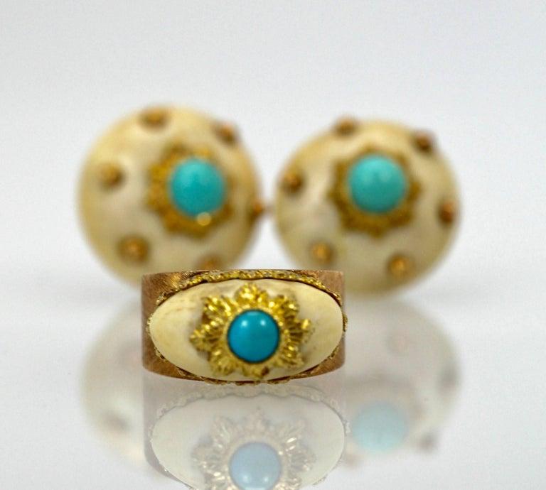 Mario Buccellati 18 Karat Textured Brushed Gold Ring Turquoise For Sale 3