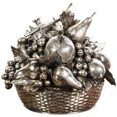 Mario Buccellati, a Large Italian Silver Fruit Basket Centerpiece