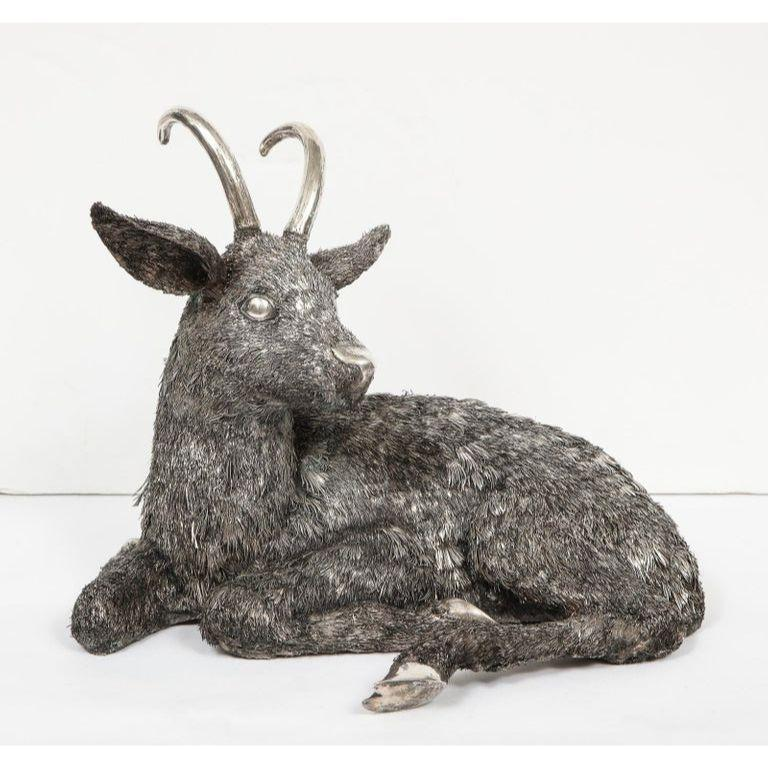Mario Buccellati, A Rare and Exceptional Italian Silver Goat circa 1940.  Made in Milan Italy.   Very fine quality and workmanship and very large in size.  Measures: 12