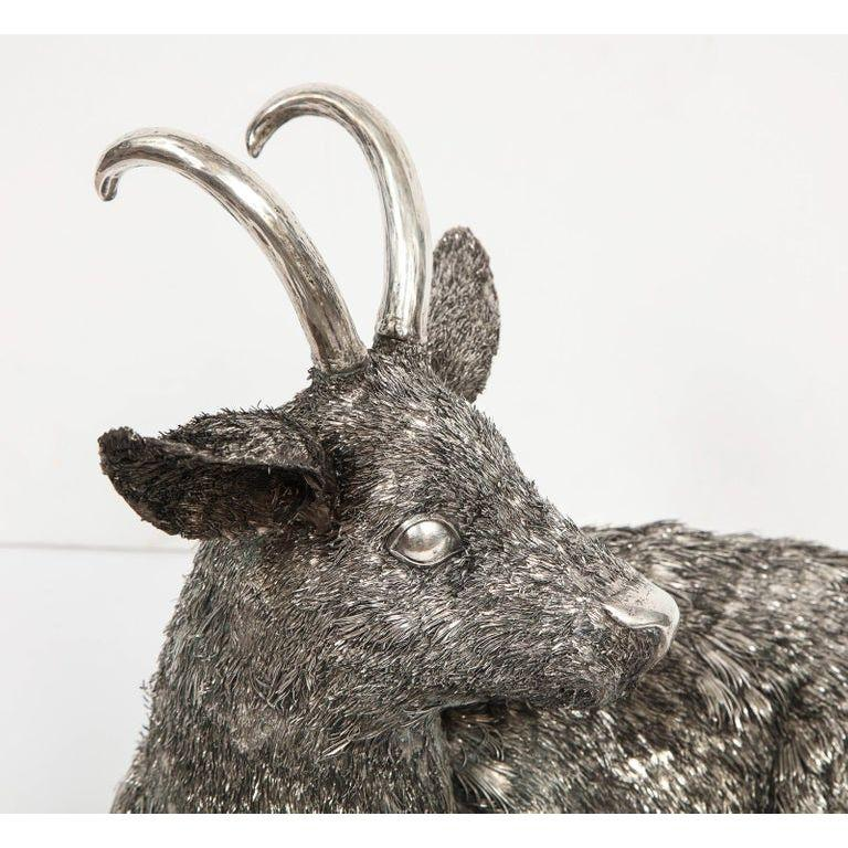 Women's or Men's Mario Buccellati, a Rare and Exceptional Italian Silver Goat For Sale