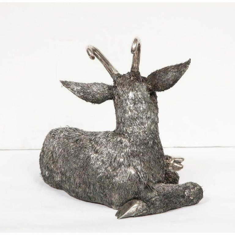 Mario Buccellati, a Rare and Exceptional Italian Silver Goat For Sale 3
