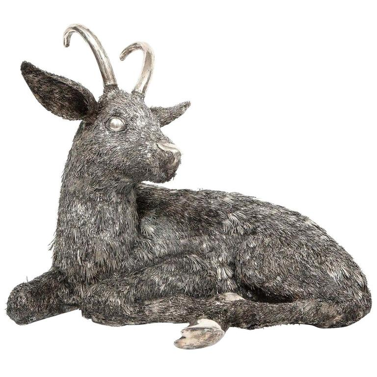 Mario Buccellati, a Rare and Exceptional Italian Silver Goat For Sale
