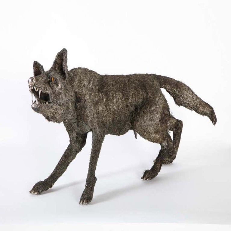 Mario Buccellati, a rare and exceptional nearly life-size Italian silver wolf, Milan, circa 1970    With tiger-eye eyes, engraved Buccellati Italy under one paw.    Retail price in the Buccellati store was $120,000.    Very fine quality and