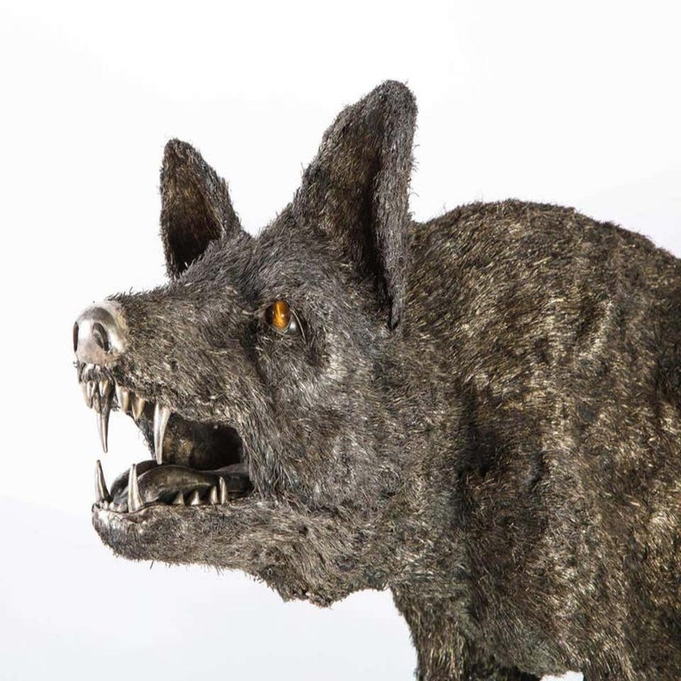 Mario Buccellati a Rare and Exceptional Nearly Life-Size Silver Wolf, circa 1970 In Good Condition For Sale In New York, NY