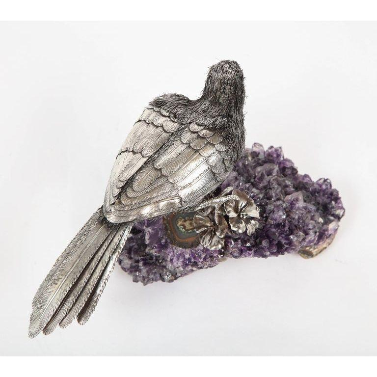 Mario Buccellati, an Exceptional Italian Silver Parrot on Amethyst For Sale 7