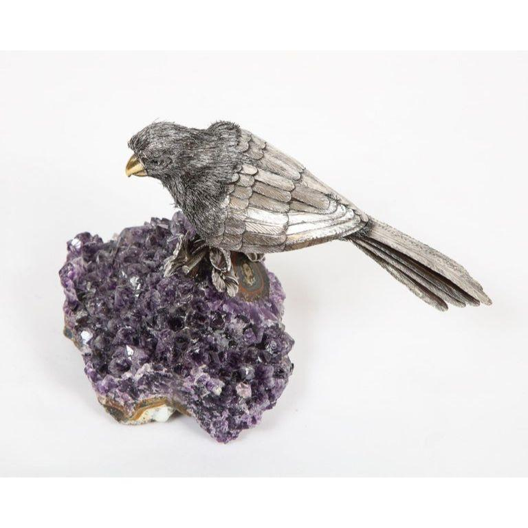 Mario Buccellati, an Exceptional Italian Silver Parrot on Amethyst For Sale 8