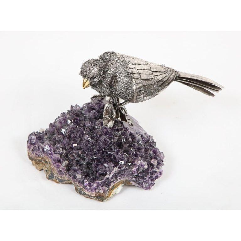 Mario Buccellati, an Exceptional Italian Silver Parrot on Amethyst For Sale 9