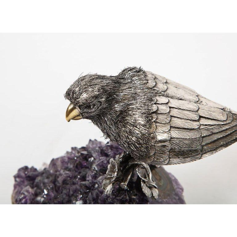 Mario Buccellati, an Exceptional Italian Silver Parrot on Amethyst For Sale 10