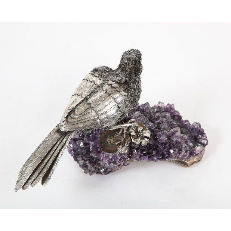 Mario Buccellati, an Exceptional Italian Silver Parrot on Amethyst For Sale 11