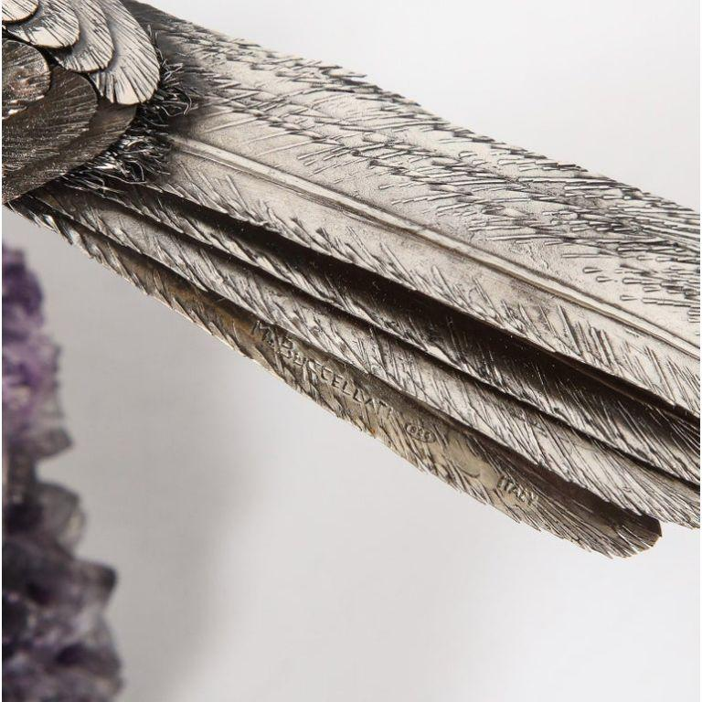 Mario Buccellati, an Exceptional Italian Silver Parrot on Amethyst For Sale 12