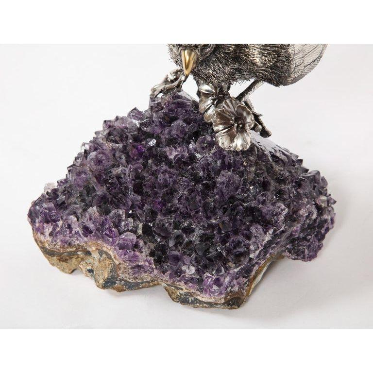 Mario Buccellati, an Exceptional Italian Silver Parrot on Amethyst For Sale 13
