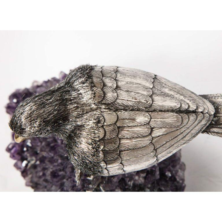 Mario Buccellati, an Exceptional Italian Silver Parrot on Amethyst For Sale 15