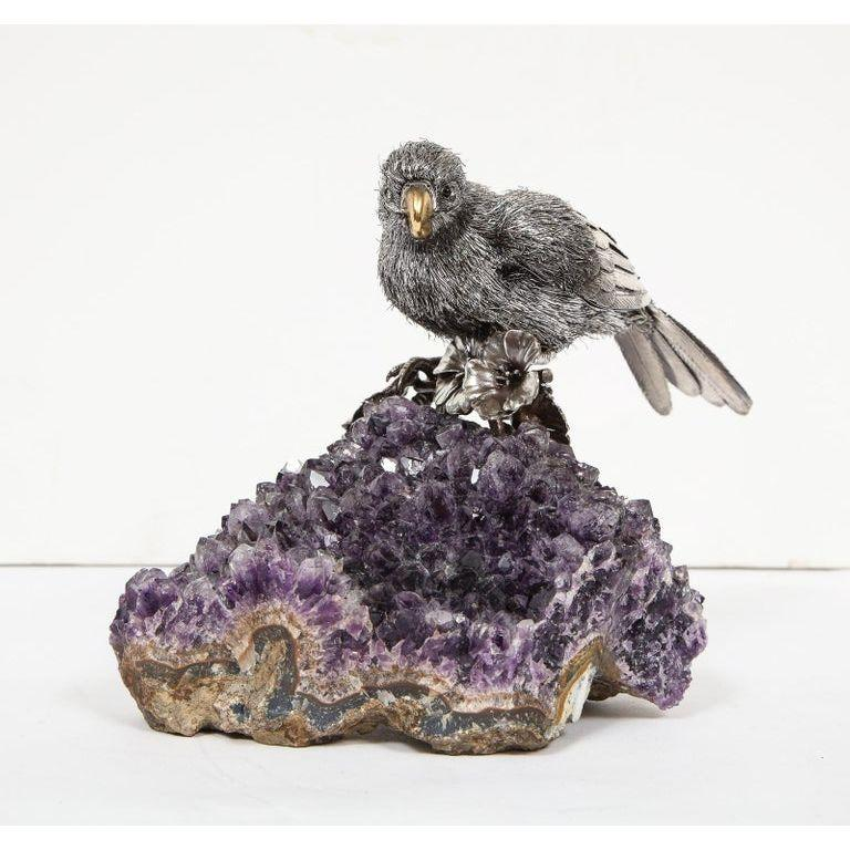Mario Buccellati, an Exceptional Italian Silver Parrot on Amethyst In Excellent Condition In New York, NY