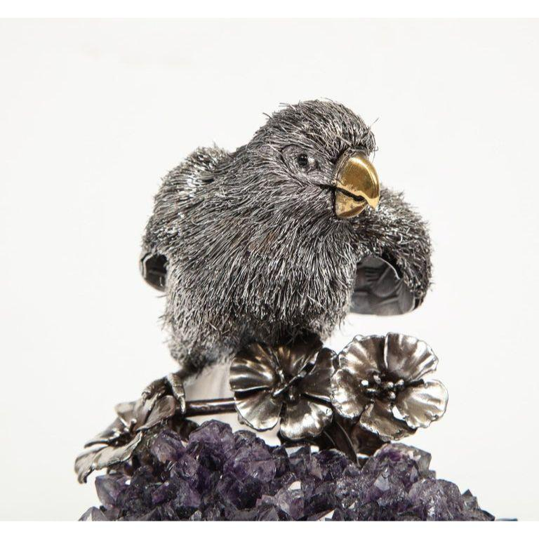 Mario Buccellati, an Exceptional Italian Silver Parrot on Amethyst For Sale 1