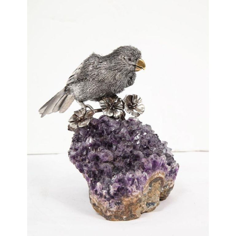 Mario Buccellati, an Exceptional Italian Silver Parrot on Amethyst For Sale 2
