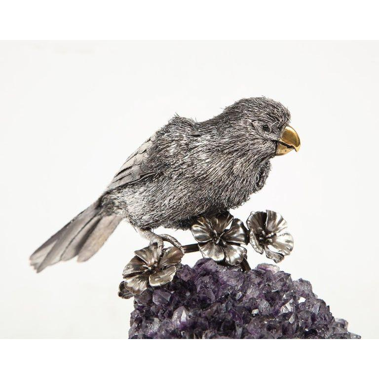 Mario Buccellati, an Exceptional Italian Silver Parrot on Amethyst For Sale 3