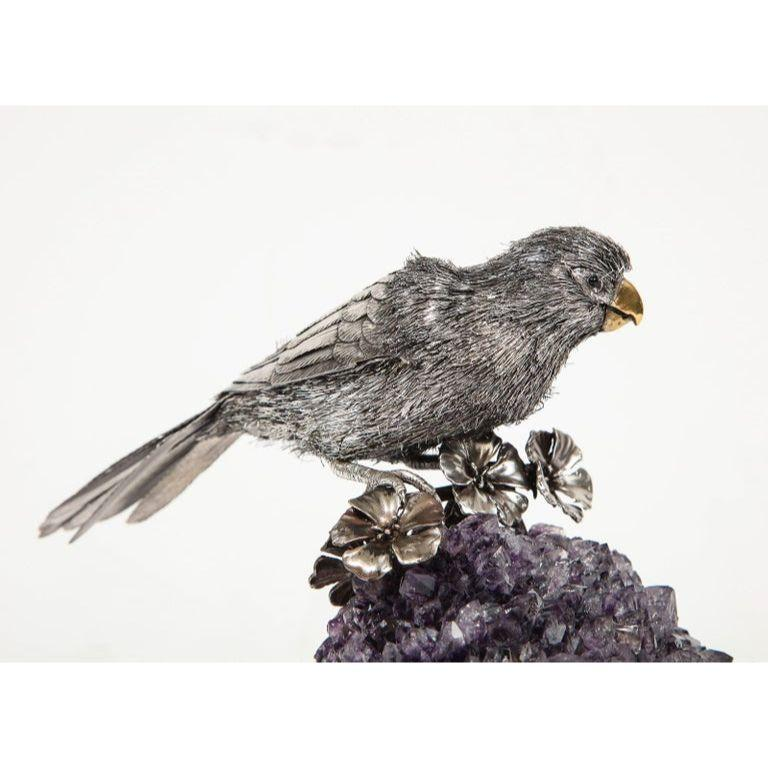Mario Buccellati, an Exceptional Italian Silver Parrot on Amethyst For Sale 4